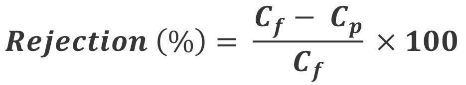 رابطه تعیین درصد پس زنی اسمز معکوس